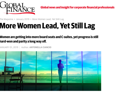 Press Coverage: More Women Lead, Yet Still Lag <br/><span style='font-size: 80%;'> | Global Finance |</span>